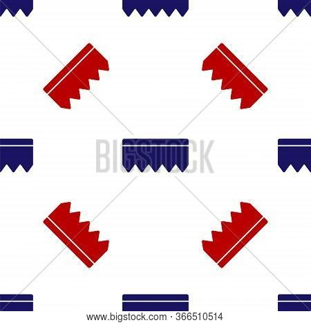 Blue And Red Sponge With Bubbles Icon Isolated Seamless Pattern On White Background. Wisp Of Bast Fo