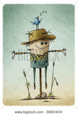 Smiling Cute Scarecrow In Field. Stones On The Ground And A Bird Chirping On Top Of The Hat. Autumn