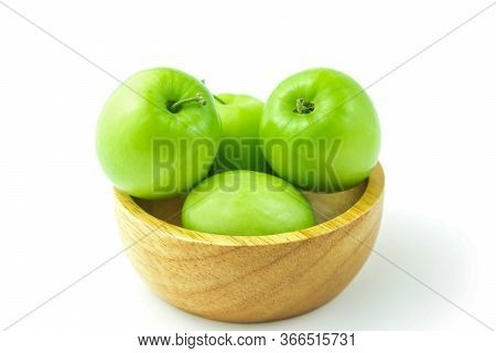Apple Monkey Or Jujub (zizyphus Mauritiana Lam) Isolated Green Fruit In Wooden Cup On White Backgrou