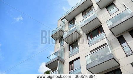 Modern European Residential Apartment Buildings Quarter. Abstract Architecture, Fragment Of Modern U