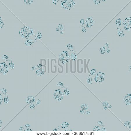 Loose Doodle Roses Seamless Vector Pattern In Blue Colors. Simple Girly Surface Print Design. For Fa