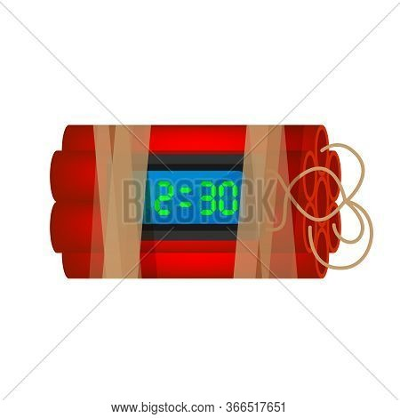 Blast Terrorist Bomb Isolated On White, Explode A Bomb Dynamite With Clock Dial
