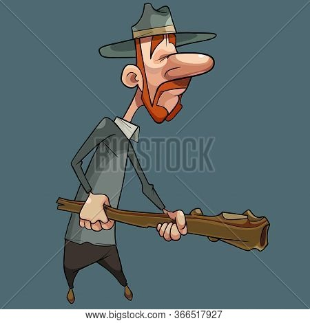 Cartoon Redhead Man With Whiskers In Hat Holds A Wooden Baton In His Hands