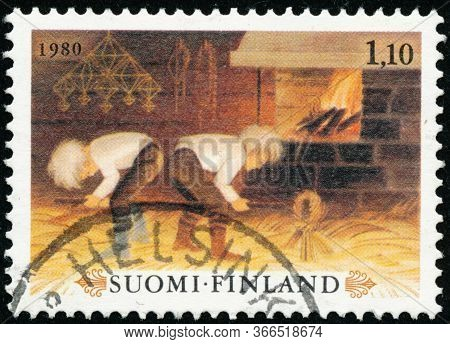 Vintage Stamp Printed In Finland 1980 Show Christmas