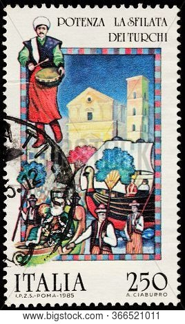 Luga, Russia - October 25, 2019: A Stamp Printed By Italy Shows Turkish Parade - Folk Festival In Po