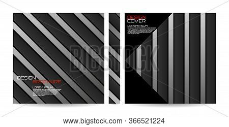 Brochure Template Of Stripes With Shadow, Geometric Banner. Magazine, Poster, Book, Presentation, Ad