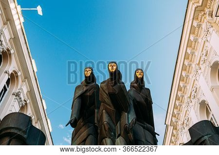 Vilnius, Lithuania, Eastern Europe - July 7, 2016: Sculpture Of Three Muses On Facade Of Lithuanian