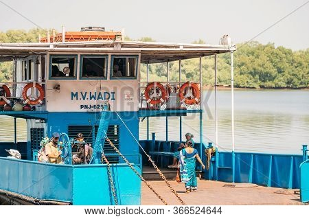 Old Goa, India - February 19, 2020: Ferry Across The Mandovi River. Old Goa Ferry Terminal. Mercure