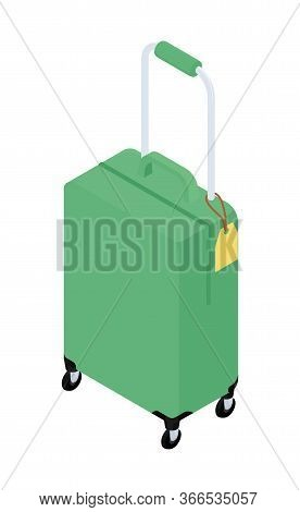 Suitcase On Wheels For Travel. Green Suitcase Suitcase With Handle On Wheels. Suitcase Isolated On W