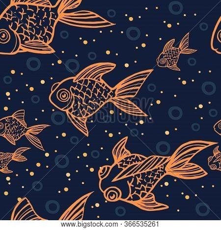 Seamless Pattern Golden Fish Orange Outline Icon Golden Fish In Different Angles Flat Vector Illustr