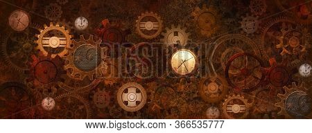 Industrial Steampunk Machine With An Intricate Clockwork Made Of Wheels And Clocks - 3d Illustration