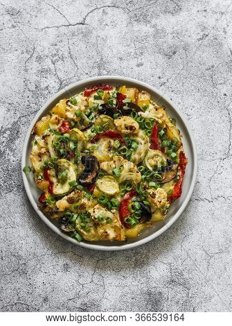Roasted Vegetables Frittata - Delicious Appetizer, Tapas, Snack, Breakfast On A Grey Background, Top