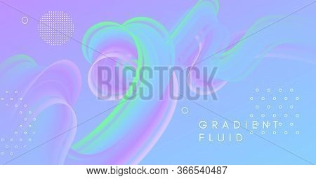 3d Vibrant Background. Pastel Music Flyer. Liquid Creative Pattern. Wave Gradient Motion. Flow Vibra