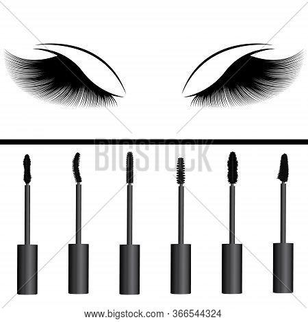 A Girls Eyelashes And Types Of Mascara Vector Illustration. Set Of Mascara