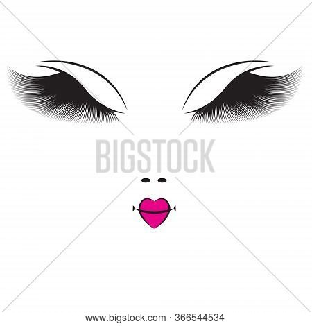 Woman Face Outline With Log Eyelashes Vector Illustration