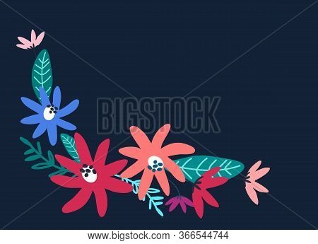 Flower Background For Holiday Design With Place For Your Text. Horizontal Greeting Card Template