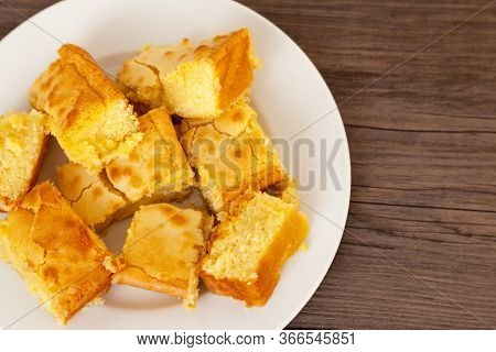 White Chocolate Blondies Cut Into Portions And Arranged On A Plate