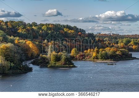 Autumn In Lithuania. The Longest River Of Lithuania, Nemunas Near Kaunas Hydroelectric Power Plant