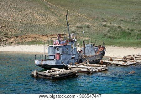 Old ship wreck on Lake Baikal, Island Olkhon, Russian Federation