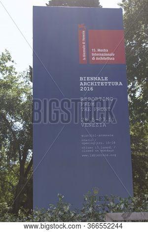 Venice, Italy - May 28 2016: Signpost Of Biennale Di Venezia In Year 2016