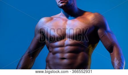 Close Up On Perfect Abs. Strong Bodybuilder With Six Pack. Men Abs. Fitness Abdominal Muscle. Man Si