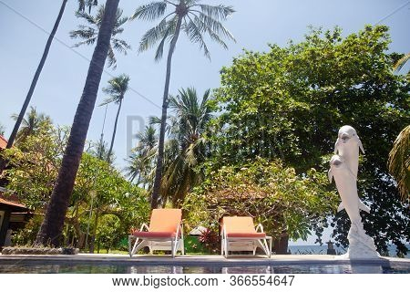 Sun Loungers By The Pool. Two Comfortable Comfortable Guest Loungers