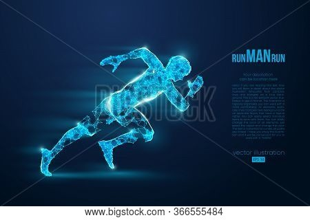 Abstract Silhouette Of A Wireframe Running Athlete, Man On The Blue Background. Neon Light. Athlete