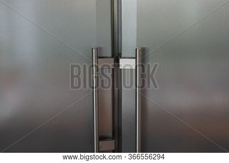 Gray Metal Texture From The Iron Door Of The Refrigerator With Handles