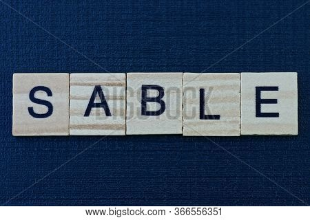 Text On Word Sable From Gray Wooden Letters On A Black Background