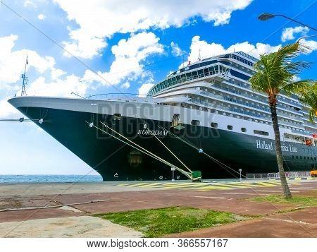 Oranjestad, Aruba - December 4, 2019: The Cruise Ship Holland America Cruise Ship Eurodam Docked At