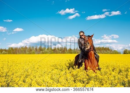 Young Woman Sitting On A Brown Horse In Yellow Rape Or Oilseed Field With Blue Sky On Background. Ho