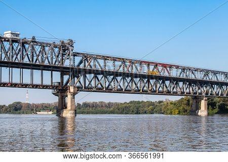 Danube Bridge. Truss Bridge Over The Danube River Connecting Bulgarian And Romanian Banks Between Ru