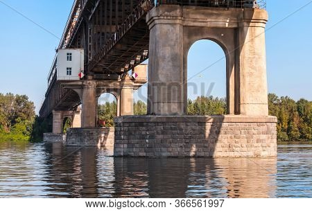 Danube Bridge Pillars. This Is A Steel Truss Bridge Over The Danube River Connecting Bulgarian And R