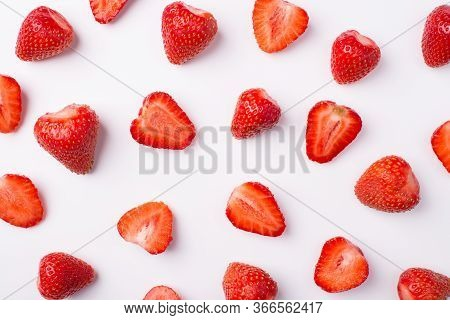 Top Above Overhead View Photo Of Whole And Cut Strawberries Isolated On White Background