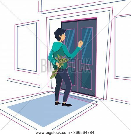Young Guy With A Bouquet Of Flowers Is Knocking On The Door. Stock Vector Illustration Of A Man In F