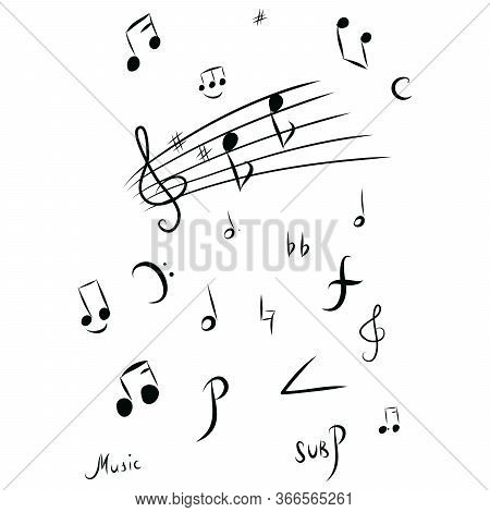 Music Notes And Shadow.abstract Musical Background. Vector Illustration.mensural Musical Notation.bl