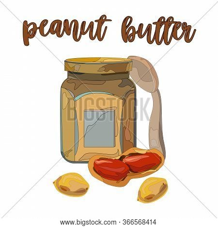 Illustration With Peanut Butter And Spoon. Vector Set On The Subject Of Peanut Butter. Peanut Butter