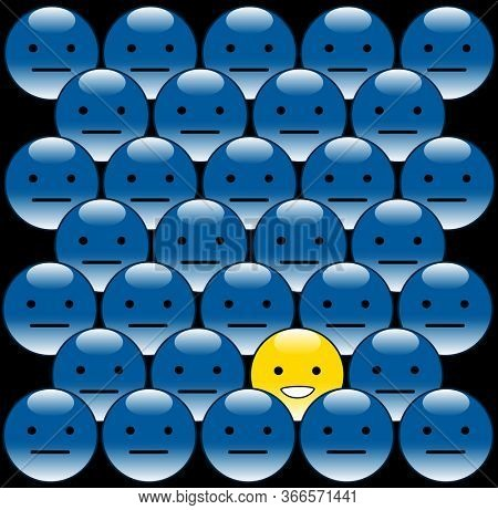 Smiling yellow button in the middle of blue crowd, be unique and be positive concept