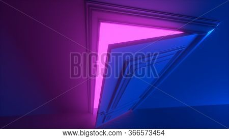 Door In A Bright Pink Vivid Neon Room Opens And Fills The Space With Bright Colorful Light. Fills Th