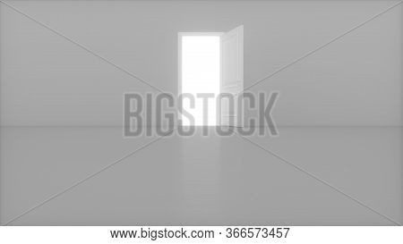 Light Shines From Door Opening In Bright White Room. Fills The Space With Bright White Light. 3d Ren