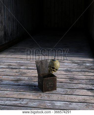 Creepy Jack In The Box Skull On Wooden Floor,3d Rendering