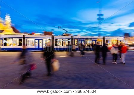 Picture In Camera Made Motion Blur Effect Of A Streetcar In The City At Night