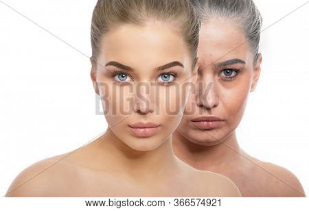 Face of young beautiful girl and old woman. Beauty treatment, aging and youth, lifting, antiaging, skincare, hydration, plastic surgery, rejuvenation, skincare  concept. procedures.
