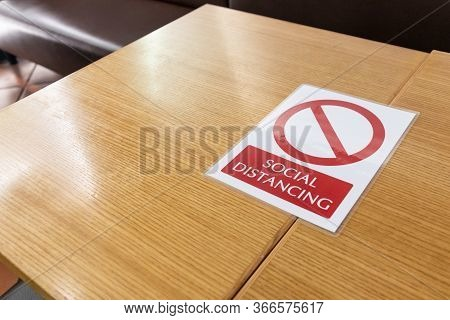 New Normal With Table Signage Prohibit Occupancy To Maintain Social Distance
