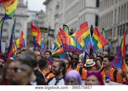 London, Uk - July 6th 2019: Large Crowds Of People Attend The Annual Lgbtq Gay Pride March N London