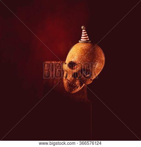 Creepy Jack In The Box Skull In The Dark,3d Rendering