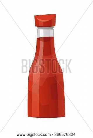 Traditional Glass Tomato Ketchup Bottle Isolated On White Background Vector Illustration