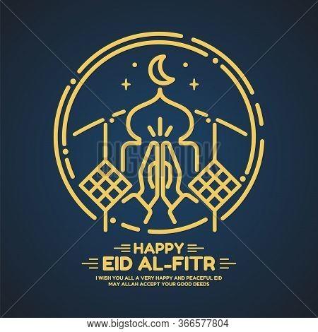 Eid Al Fitr Mosque Card In Vector Format.