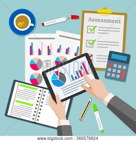 Vector Illustration Of The Composition Of Items On A Businessman's Desk. Suitable For Illustration F
