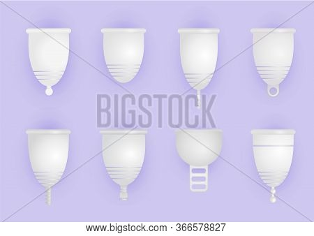 Set Of Different Silicone Menstrual Cups. Eco-friendly, Washable Intimate Product. Zero Waste Suppli